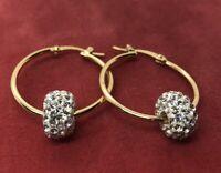 Vintage Sterling Silver Earrings 925 JCM Hoops CZ Dangle Bead Gold Tone