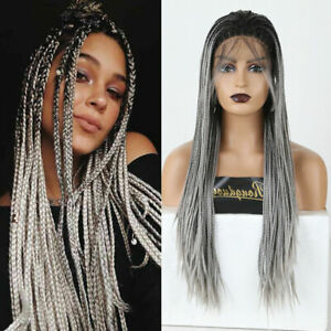 Long Ombre Gray Wigs Braided Box Braids Wigs for Women Synthetic Lace Front Wig