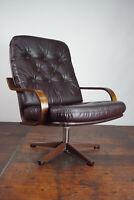 60er Vintage Sessel Retro Leder Drehsessel Relax Easy Lounge Chair Westnofa Ära