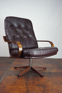 60er Vintage Armchair Retro Leather Swivel Chair Relax Easy Lounge Westnofa Age