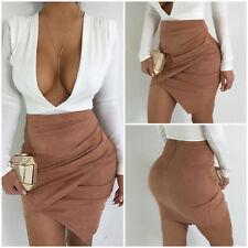 New Las Women Plain Bodycon Stretch Short Mini Office Pencil Skirt Size S Xl