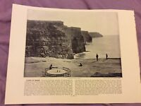 Antique Book Print - Cliffs of Moher OR Gourock - UK - c. 1895