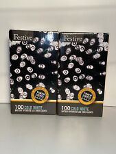 2 Boxes Of Festive LED 200 White Christmas String Lights Battery Operated Timer