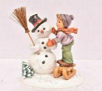 """Goebel Hummel MAKING NEW FRIENDS Snowman Boy Sled, TMK-7, 6 1/2"""" 1st Issue Erste"""