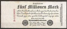 Billet 5 Millionen Mark, Reichsbanknote. Berlin 25 Juli 1923. Weimar Republic