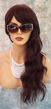 100% Heat Friendly Wig Long Straight  SLINKY BEACHY WAVE COLOR #4 BROWN 1025