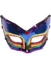 Deluxe Rainbow Pride Sequin Half Venetian Mask Eyemask