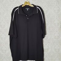 Men's Lynx Polo Shirt Short Sleeve Black with White Trim Size XL