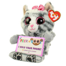 "TY Beanie Boos Peek A Boos 5"" MOLLY the Grey Cat Phone Holder w/ Cleaner MWMT's"