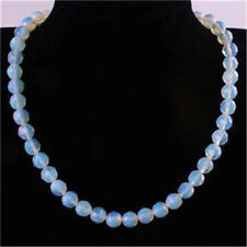 10mm AAA+++ Moonstone Faceted Gemstone Round Beads Necklace 18''