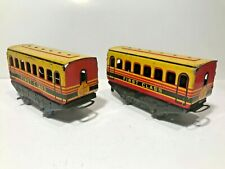 🚂 Vintage Pair Wells Brimtoy Tinplate 1st FIRST CLASS CARRIAGES/COACHES O Gauge