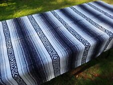 Mexican Blanket Falsa Grey & White, Southwestern Beach Yoga Blanket