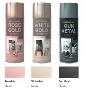 Rust-Oleum Metallic Finish Spray Paint - 400ml - Gun Metal, Rose and White Gold