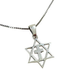 Sterling Silver MESSIANIC Pendant Star Of David With Cross Necklace Israel Gift
