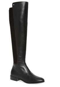Women MK Michael Kors Bromley Riding Boot Black (Runs 1/2 Size Small)
