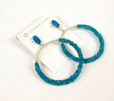 Kendra Scott Russel Hoop Earrings Blue Teal Agate Turquoise Gold New $150