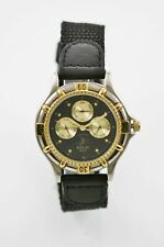Relic Mens Watch Moon Month Day Date Silver Gold Stainless Leather Black 50m