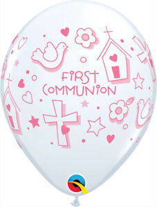 "COMMUNION BALLOONS 10 x 11"" FIRST COMMUNION PINK SYMBOLS QUALATEX BALLOONS"