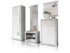 Garderobe Garderobenschrank STAN V Spiegel Wandgarderobe Diele Beton Weiß Dekor