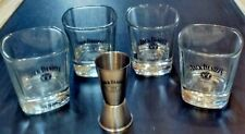 Lot of 5 Jack Daniels Old No. 7 rocks whiskey glasses & stainless steel Jigger