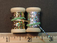 2 New Spools of Flat Gold & Silver Holographic Tinsel or Flash, 20 yds.