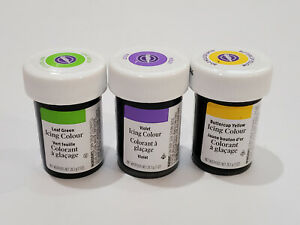 Lot of 3 Wilton Concentrated Gel Icing Color Variety Colors 1 oz Jar