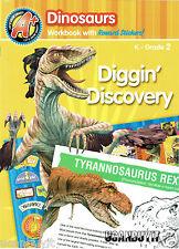 32pg Illustrated DINOSAURS Homeschool Workbook w/Reward Stickers Gr K-2 Ages 5+