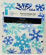 Twin Flannel 3 piece Sheet Set Snowflakes Blue Teal New Snowflake