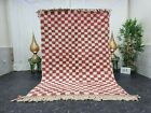 """Moroccan Handmade Beni Ourain Rug 5'3""""x8' Berber Checked White Red Wool Rug"""