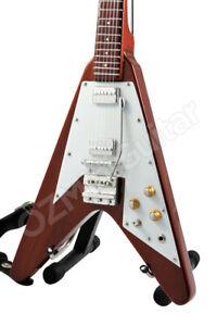 Miniature Guitar Flying V Brown Natural Wood & Strap