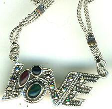 """925 Sterling Silver Marcasite & Multi Stone 'LOVE' Necklace 16"""" Unusual"""