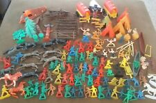 Vintage Plastic Cowboys & Indians Mixed Lot~Tee-Pees~Canoes~Tin Mee
