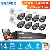 SANNCE 1080P Full Color Night Security Camera 4/ 8pcs Outdoor 8CH 2MP DVR 0- 4TB
