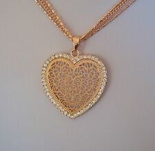 Farbe Rosegold - lange Kette 80-85 cm + Anhänger Ornament Herz - Kristalle - NEU