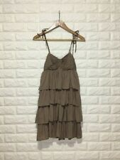 Forever 21 Tan Tiered Dress with Adjustable Tie Straps and Smock Detail