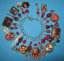 """THE BIG BANG THEORY""  ONE OF A KIND ALTERED ART CHARM BRACELET-RED & SILVER"