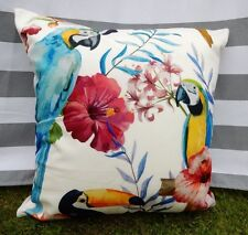 Tropical Floral Parrot Cushion Cover. Toucan, Bird, Velvet, Luxury, Designer