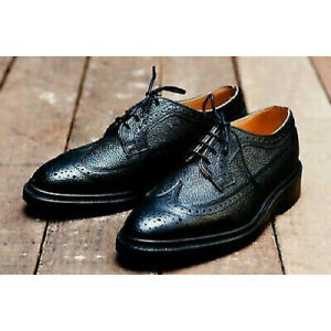 Mens Handmade Shoes Oxford Brogue BootHub Black Grain Leather Wingtip Derby Boot