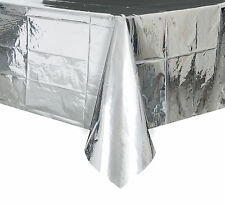 Silver Foil Tablecover Plastic Shiny Silver Party Tablecloth 25th Anniversary