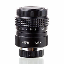 Fujian 25mm f/1.4 CCTV cine lens for M4/3 / MFT Mount Olympus Panasonic black .