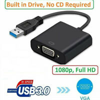 USB 3.0 to VGA Video Adapter Cable Converter 1080p For PC Laptop Windows 7/8/10'