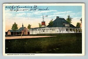 Saginaw MI, Saginaw Country Club, Vintage Michigan c1916 Postcard