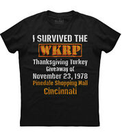 I Survived The WKRP Turkey Drop Mens Short Sleeve New Cotton Black T-shirt