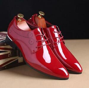 Men's Patent Leather Pointy Toe Shiny Oxfords Business Formal Dress Shoes Chic