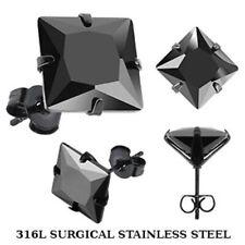 1 Par Pendientes de Botón Negro Con Circonia Acero Quirúrgico 316L Div. Tamaños