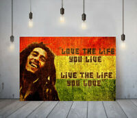 MUSICIAN BOB MARLEY 2-FRAMED CANVAS WALL ART PICTURE PAPER PRINT- RED YELLOW