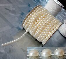 50 mètres Ruban de Cabochon 4mm en demi Perle Crème Lustré pour Embélissement