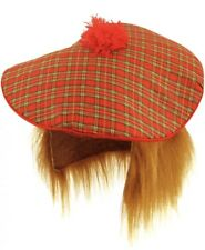 TARTAN HAT Scottish Tam O Shanter Ginger Hair Men Fancy Dress Adult Wig Stag Do