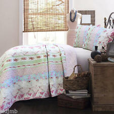 LIZZY Pink Blue White Green FULL/QUEEN Quilt 3pc Set COTTAGE CHIC SHABBY ROSES