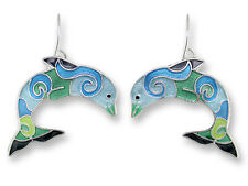 Zarah Zarlite Wave Dancer DOLPHIN EARRINGS Silver Plated Dangle - Gift Boxed